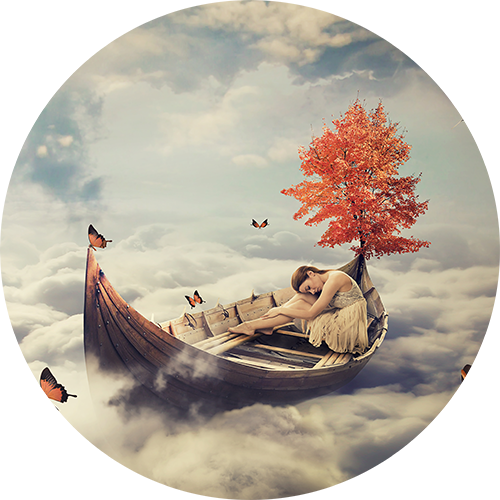 woman sailing in clouds