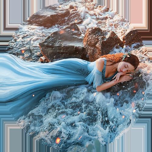 woman sleeping in the ocean